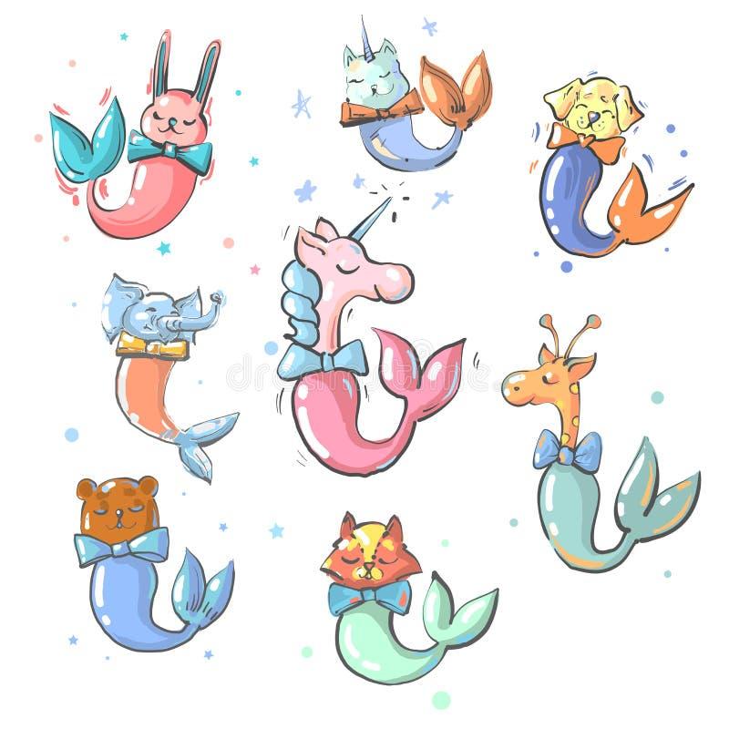 Śliczni zwierzęta z syrenka ogonów wektoru kolekcją ilustracji