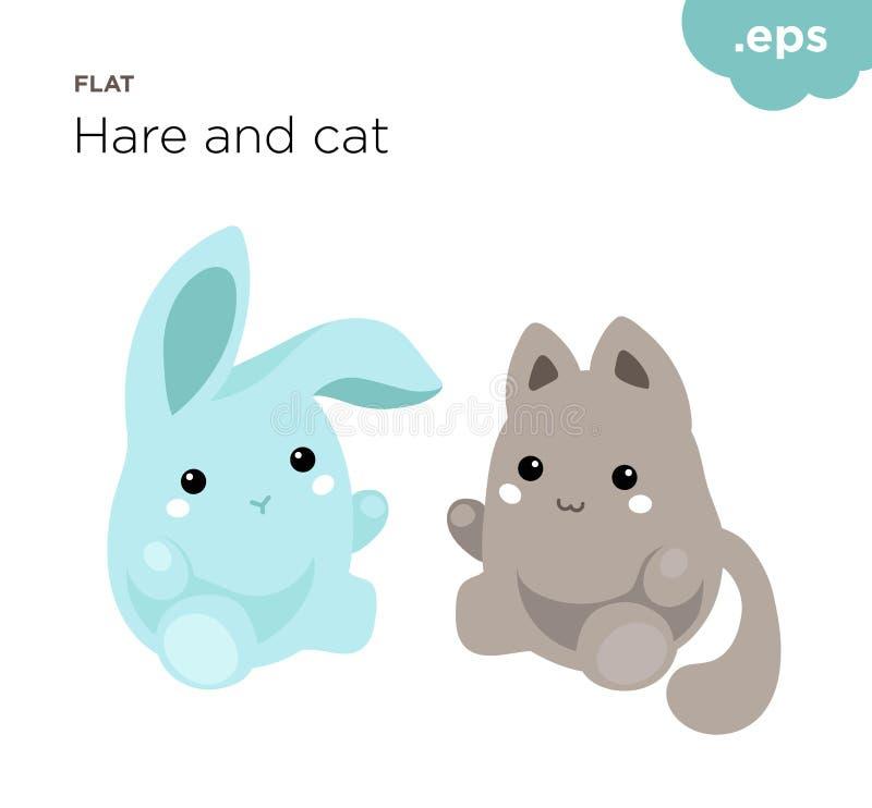 Śliczni zwierzęta zając i kota mieszkanie ilustracja wektor