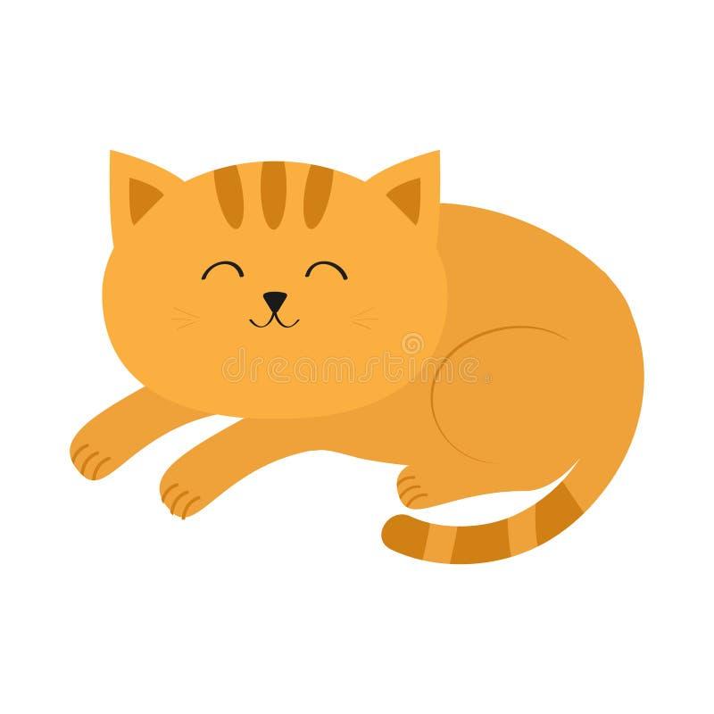 Śliczny łgarski sypialny pomarańczowy kot z wąsa bokobrody postać z kreskówki śmieszne Biały tło odosobniony Płaski projekt ilustracji