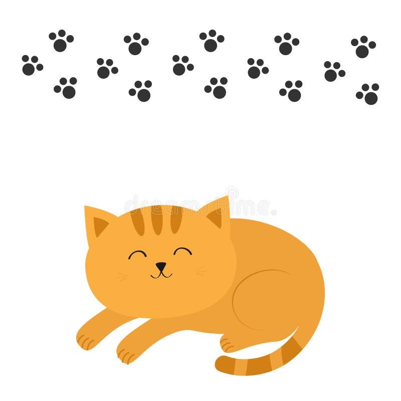 Śliczny łgarski sypialny pomarańczowy kot z wąsa bokobrody postać z kreskówki śmieszne Czarny zwierzęcy łapa druk Biały tło odoso ilustracja wektor