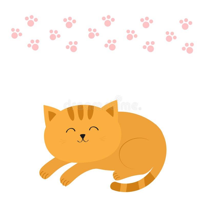 Śliczny łgarski sypialny pomarańczowy kot z wąsa bokobrody postać z kreskówki śmieszne Różowy zwierzęcy łapa druk Biały tło ilustracji