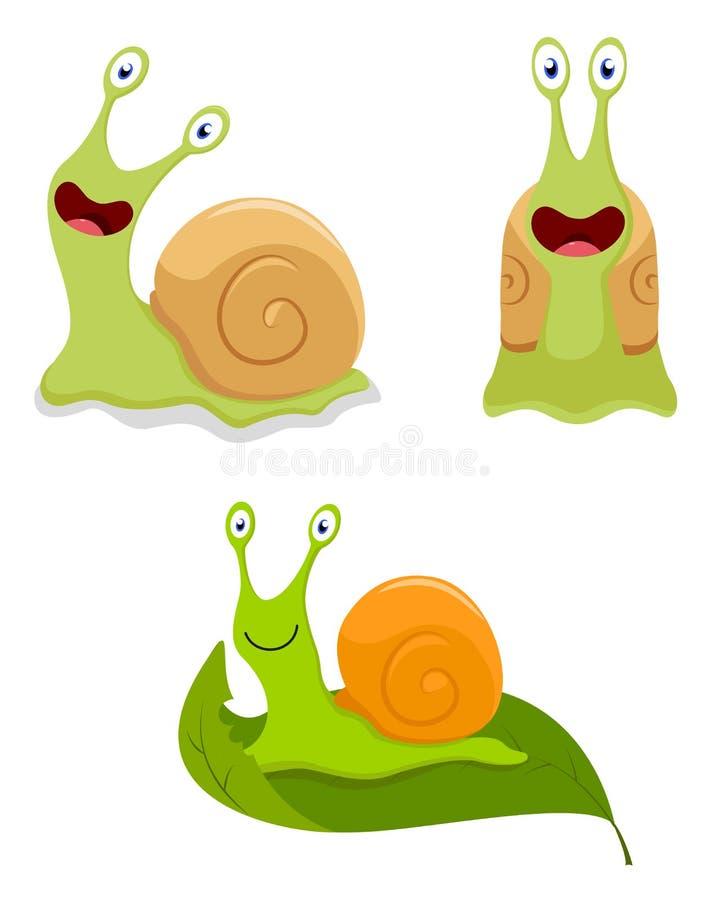 Śliczny ślimaczek kreskówki kolekci set ilustracji