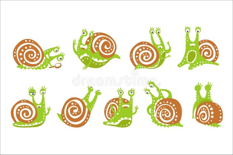 Śliczny ślimaczka charakter - set, śmieszny mollusk z różna kolorowa ręka rysować emocj wektorowymi ilustracjami royalty ilustracja