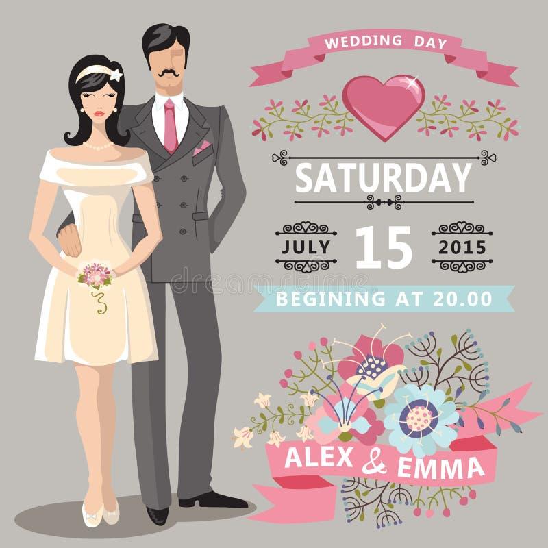 Śliczny ślubny zaproszenie z panną młodą, fornal, kwieciści elementy ilustracji