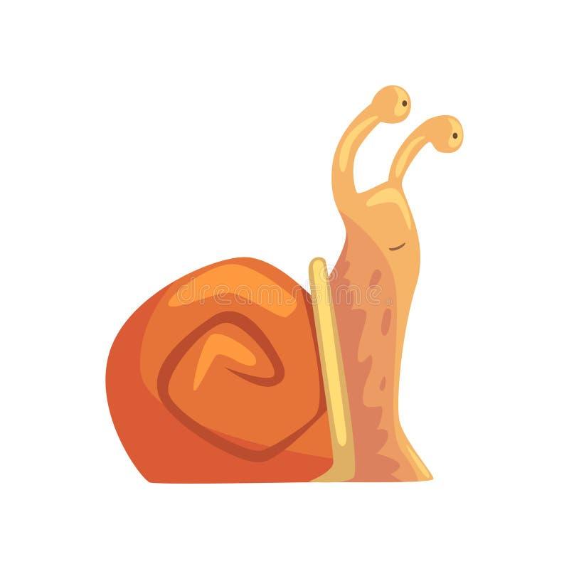 Śliczny śmieszny ślimaczek, komiczna mollusk charakteru kreskówki wektoru ilustracja ilustracji