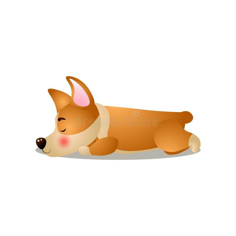 Śliczny śmieszny corgi pies śpi bardzo dobrze royalty ilustracja
