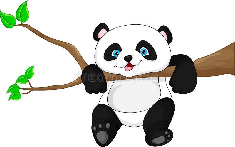 Śliczny śmieszny dziecko pandy obwieszenie na drzewie ilustracji