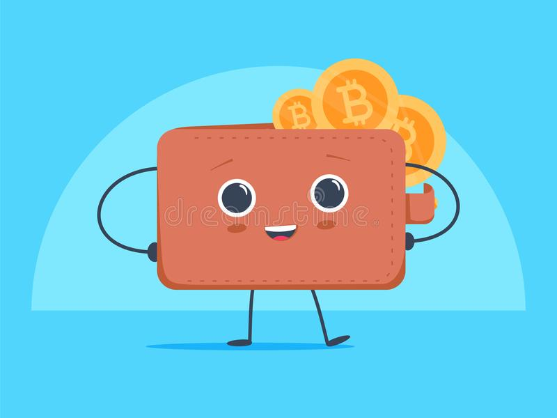 Śliczny śmieszny kreskówki Bitcoin portfel z crypto waluty i elektronicznego pieniądze monetami, żetony Mieszkania stylowy crypto ilustracji