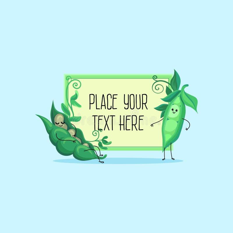 Śliczny śmieszny strąk zieleni grochy i fasoli postać z kreskówki hoding sztandar z przestrzenią dla twój teksta wektoru ilustrac ilustracja wektor