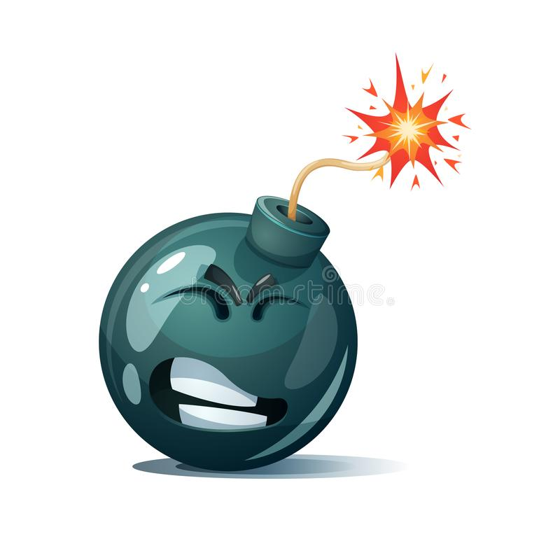 Śliczny, śmieszny, szalony - kreskówka bombowy charakter Ah, oh smiley royalty ilustracja