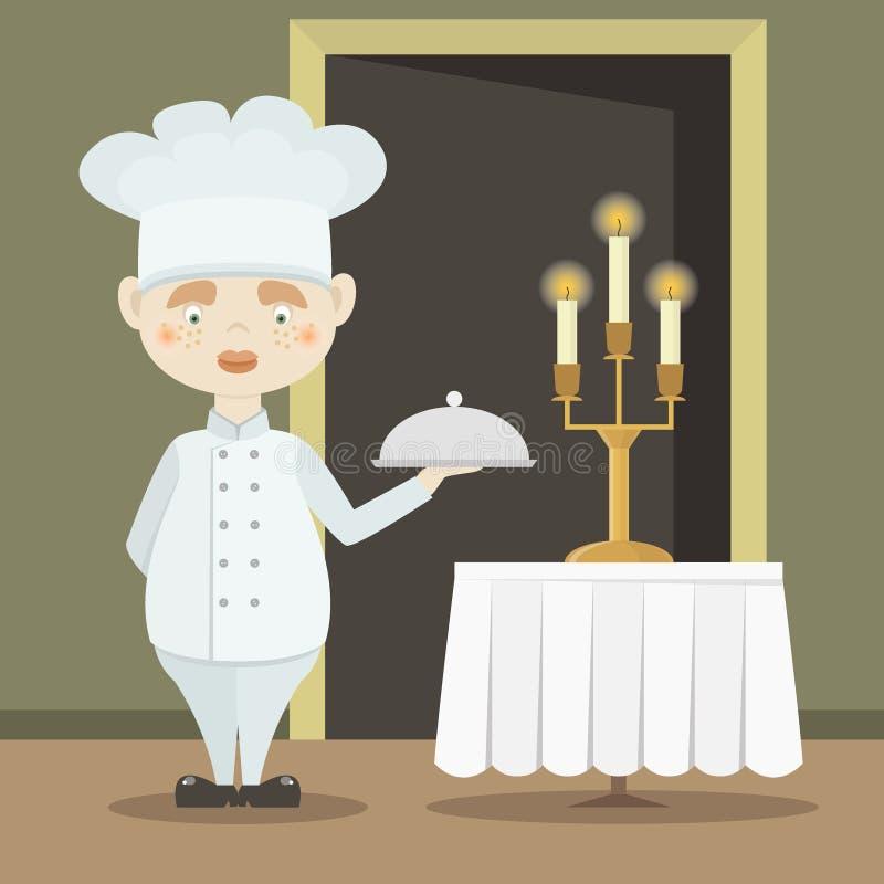 Śliczny śmieszny szefa kuchni kucharz w nakrętce ilustracji