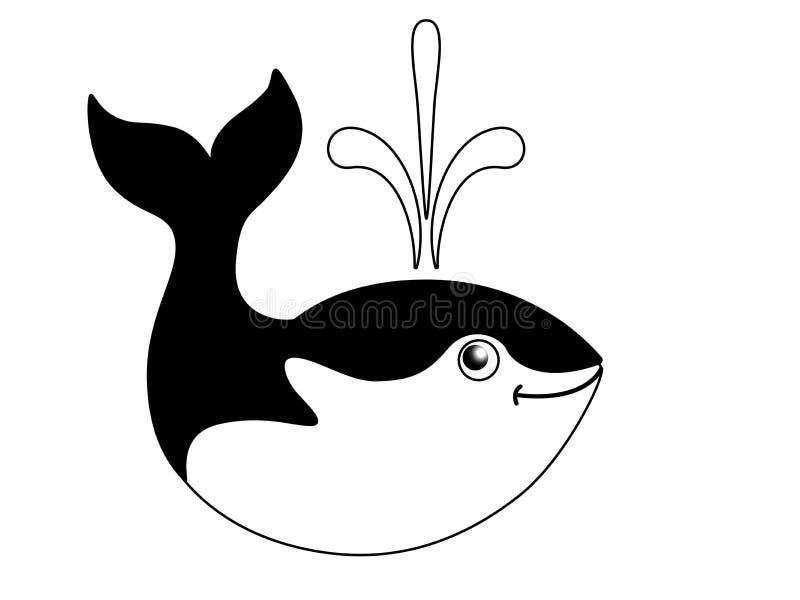 Śliczny śmieszny wieloryb Czarny i biały wizerunek morski ssak Logo lub znak przedstawia wieloryba od fontanny od plecy royalty ilustracja