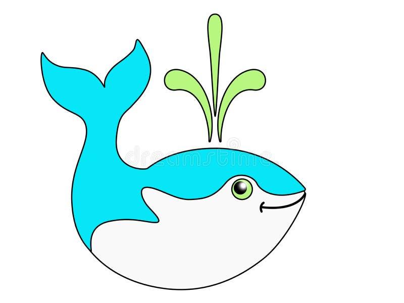 Śliczny śmieszny wieloryb Koloru wizerunek morski ssak ilustracji
