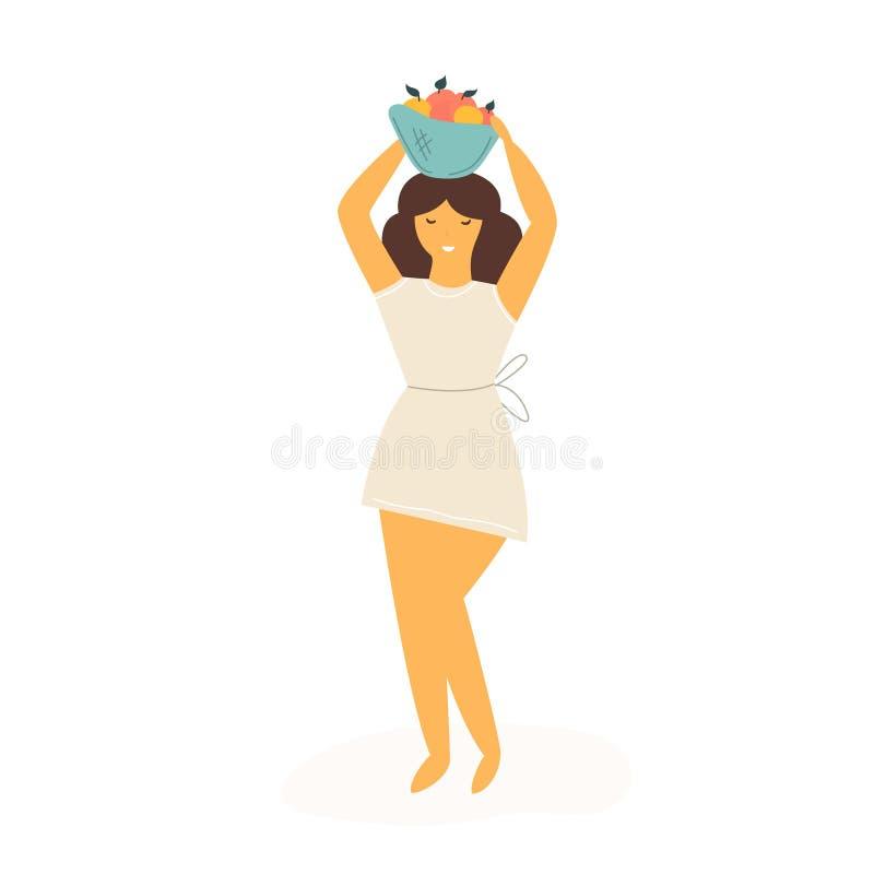 Śliczny średniorolny dziewczyny przewożenia kosz z owoc royalty ilustracja