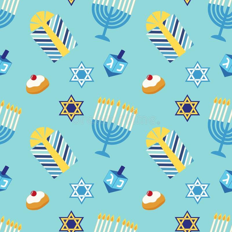 Śliczny świąteczny bezszwowy deseniowy Szczęśliwy Hanukkah w tradycyjnych kolorach ilustracja wektor