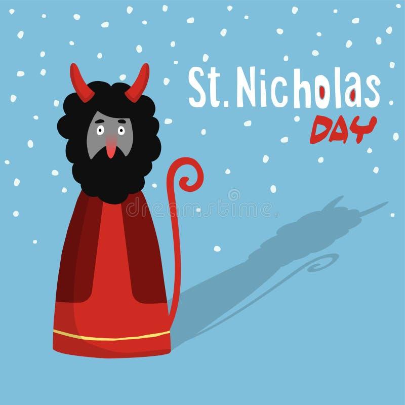 Śliczny świętego Nicholas dnia kartka z pozdrowieniami z diabłem, płaski projekt, royalty ilustracja