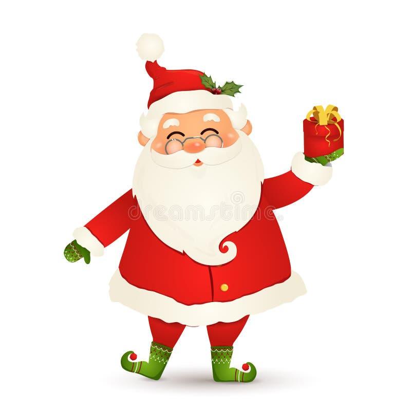 Śliczny Święty Mikołaj daje boże narodzenie teraźniejszości Szczęśliwego Święty Mikołaj mienia prezenta czerwony pudełko odizolow royalty ilustracja