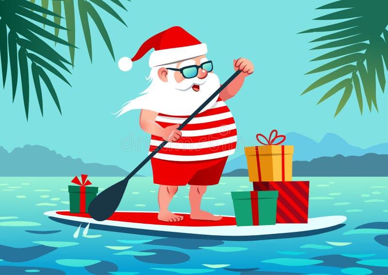 Śliczny Święty Mikołaj na paddle desce z prezentami przeciw tropikalnemu oce ilustracji
