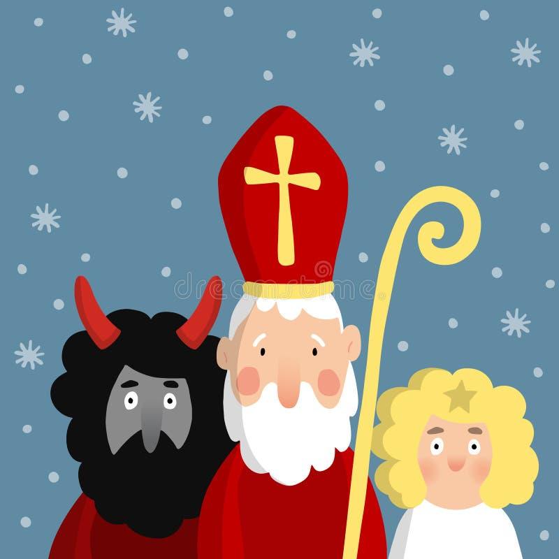Śliczny święty Nicholas z diabłem, aniołem i spada śniegiem, Bożenarodzeniowa zaproszenie karta, ilustracja ilustracji