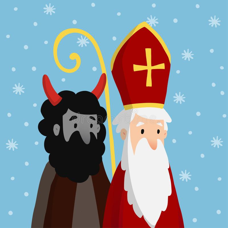 Śliczny święty Nicholas z diabłem i spada śniegiem Bożenarodzeniowa zaproszenie karta, wektorowa ilustracja, zimy tło ilustracji