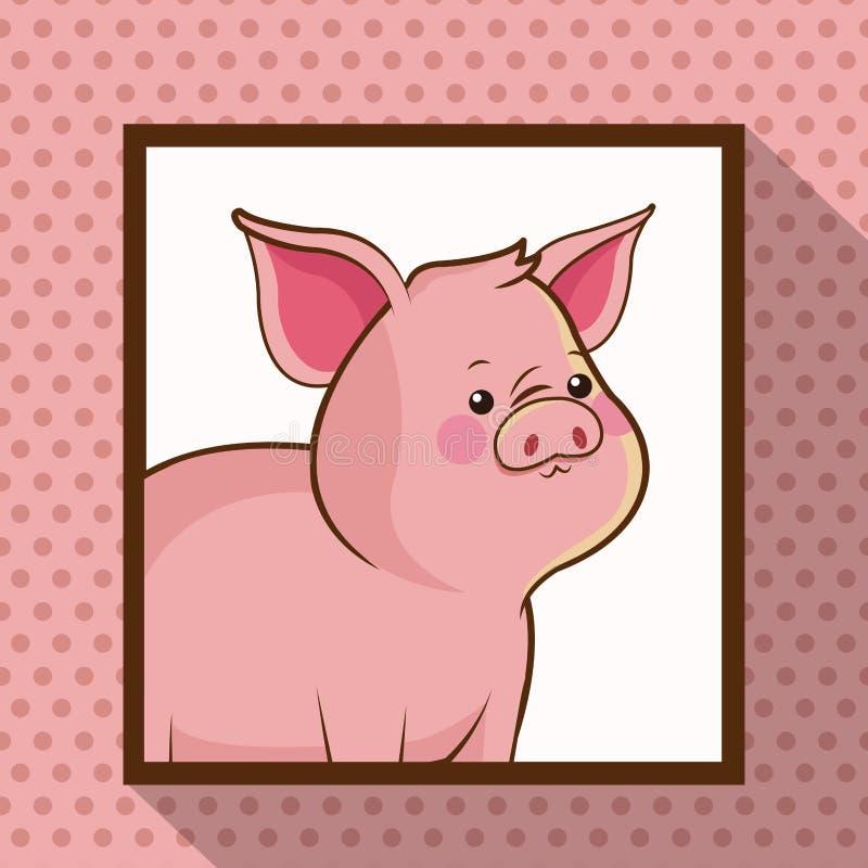 Śliczny świni ramy obrazek ilustracja wektor