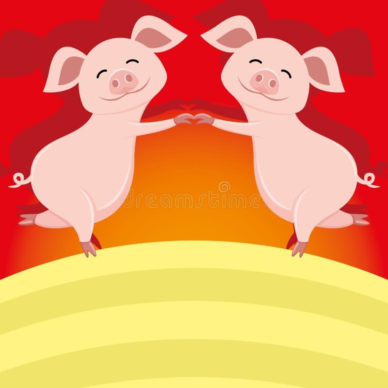 Śliczny świni stać ilustracji