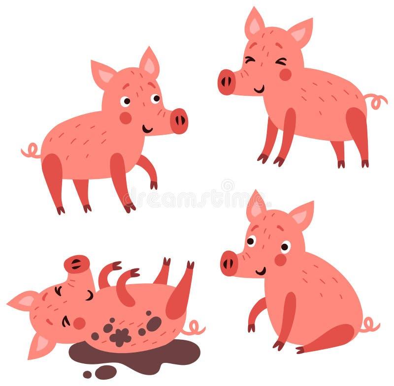 Śliczny świnia charakter - set ilustracji
