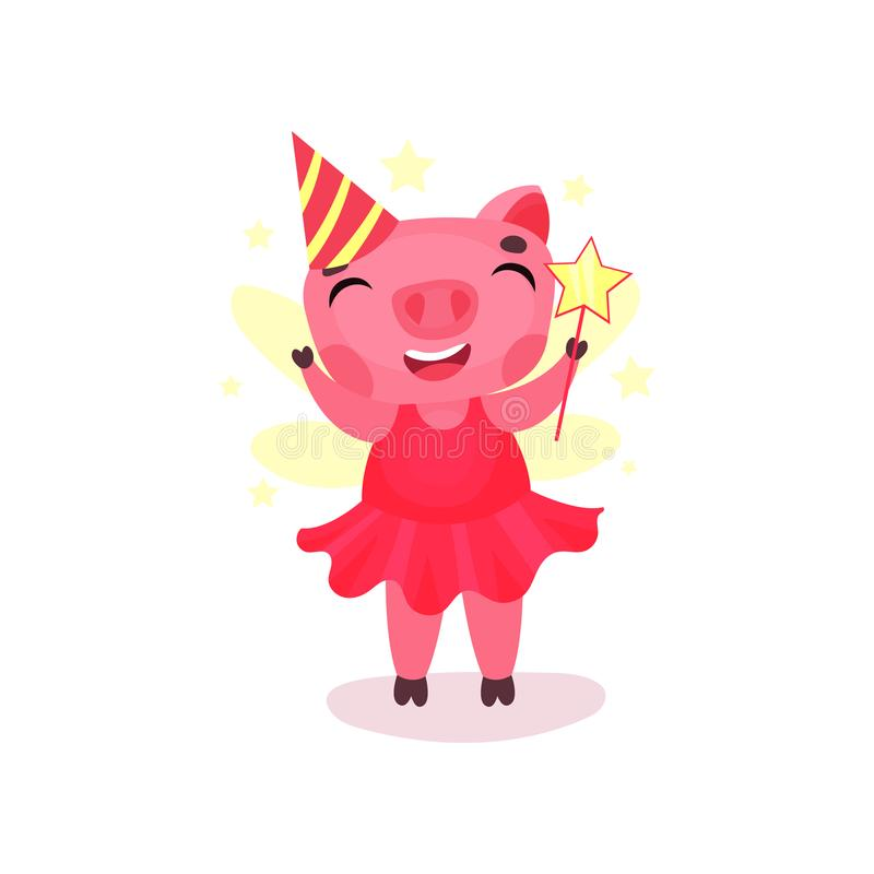 Śliczny świniowaty charakter w różowej sukni i przyjęcia kapeluszowej pozyci z magiczną różdżką, śmieszny kreskówki prosiątka zwi ilustracja wektor