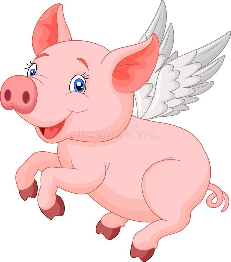 Śliczny świniowaty kreskówki latanie royalty ilustracja