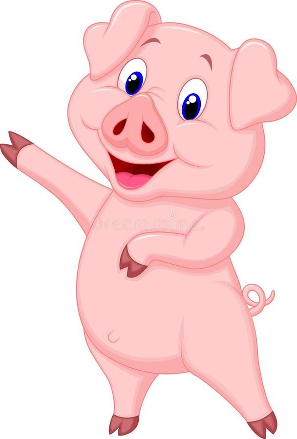 Śliczny świniowaty kreskówki przedstawiać royalty ilustracja
