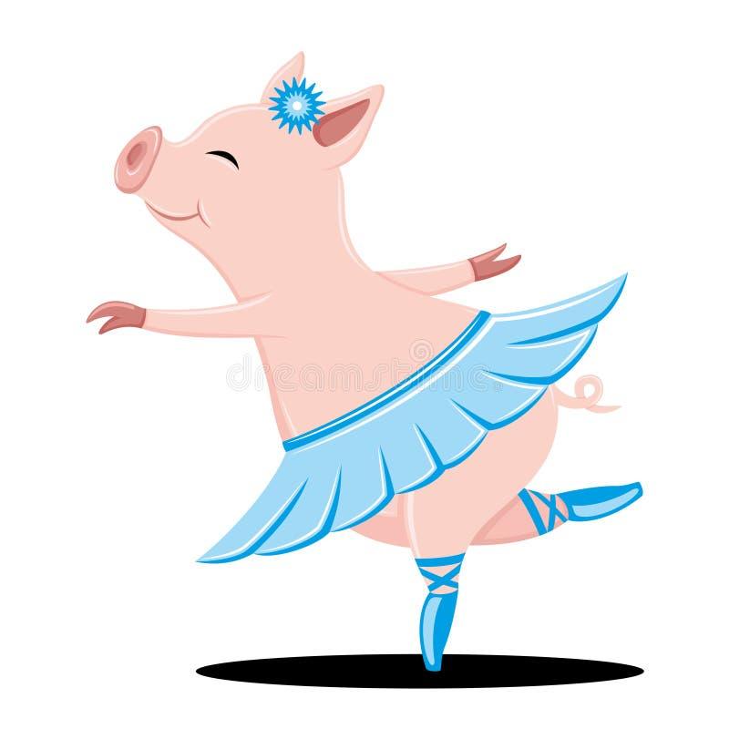 Śliczny świniowaty taniec royalty ilustracja