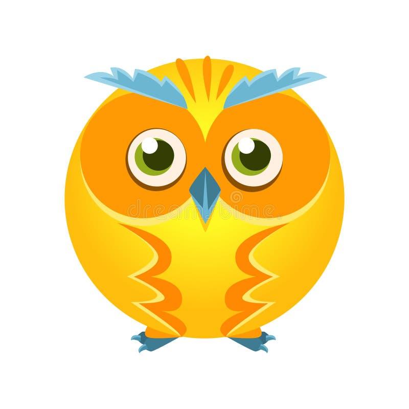Śliczny żółty geometryczny sowa ptak, kolorowa postać z kreskówki wektoru ilustracja royalty ilustracja