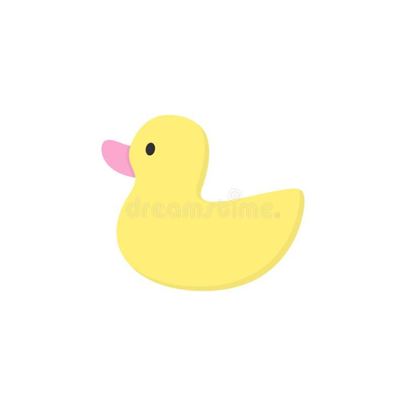 Śliczny żółty gumowy kaczki zabawki wektor royalty ilustracja