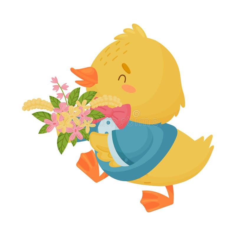 Śliczny żółty kaczątko w kostiumu niesie bukiet Wektorowa ilustracja na bia?ym tle royalty ilustracja