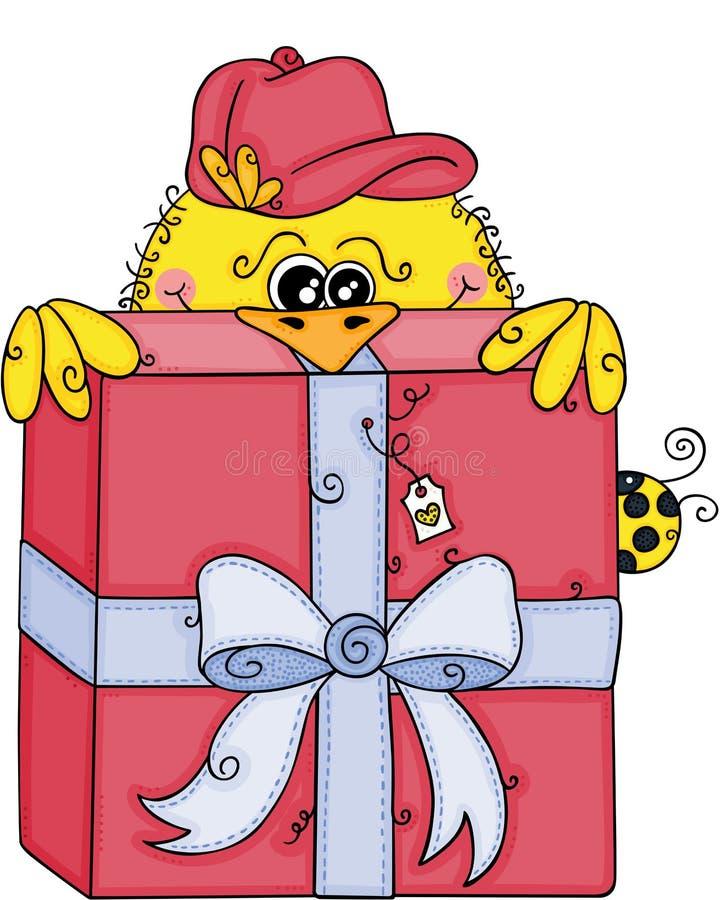 Śliczny żółty ptasi zerkanie w górę dużego czerwonego prezenta royalty ilustracja
