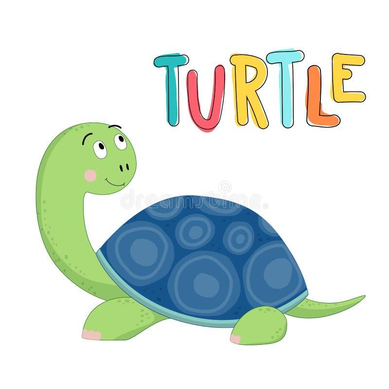 Śliczny żółw rysująca wektorowa ilustracja z literowanie żółwiem royalty ilustracja