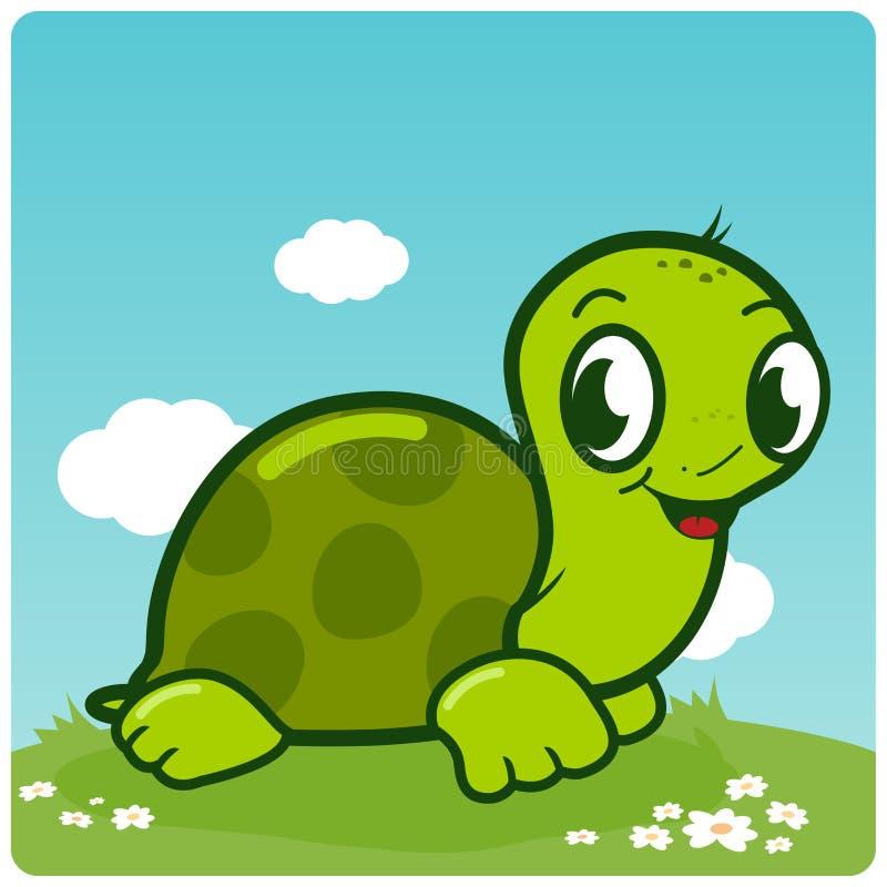Śliczny żółwia odprowadzenie w trawie ilustracji
