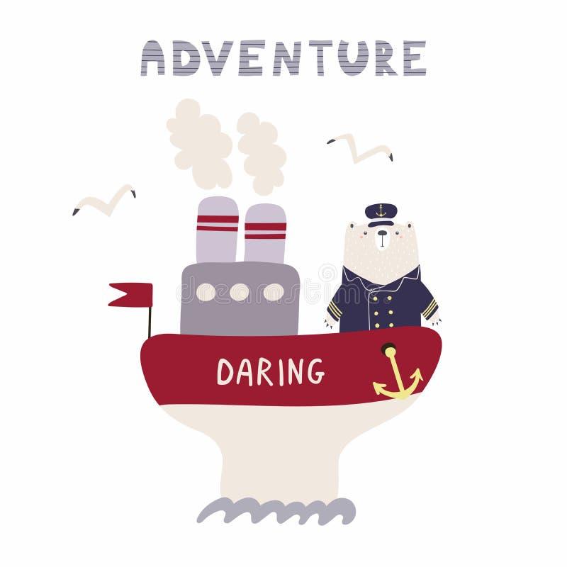 Śliczny żeglarza niedźwiedź na statku ilustracja wektor