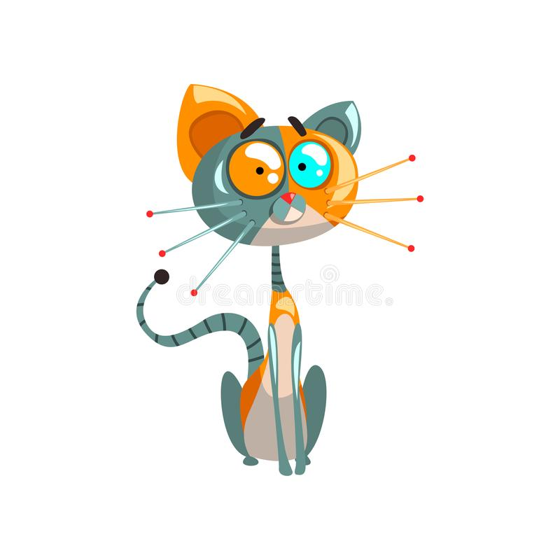 Śliczny życzliwy mechaniczny kota obsiadanie na podłogowej, sztucznej inteligenci pojęcia wektorowych ilustracjach na bielu, ilustracji