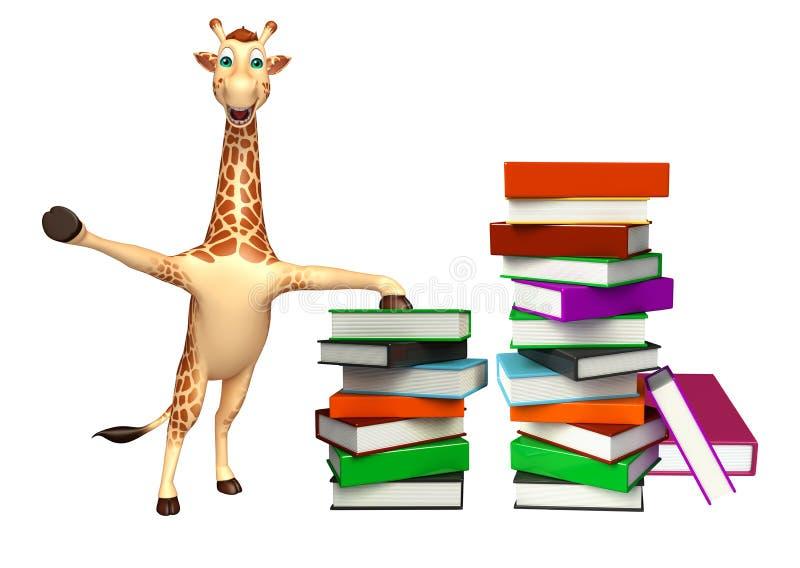 Śliczny żyrafy postać z kreskówki z książkami ilustracji