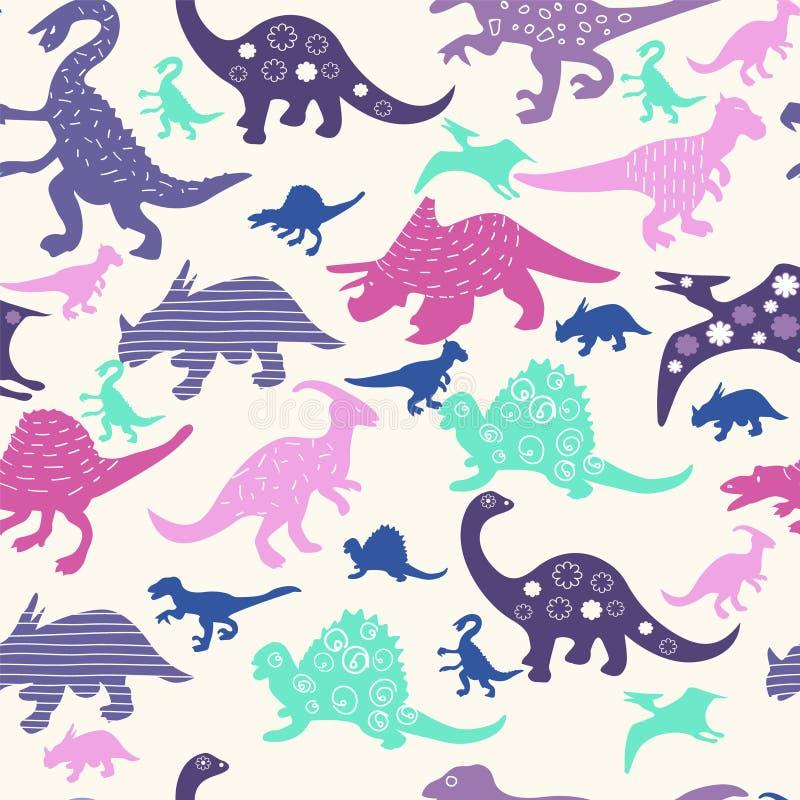 Śliczny abstrakcjonistyczny bezszwowy wzór z dinosaurami ilustracji