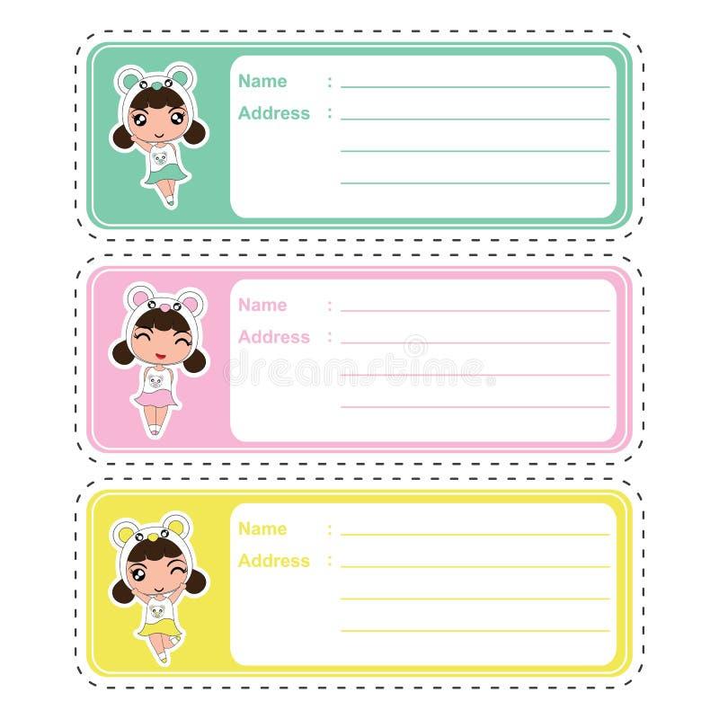 Śliczny adres etykietki kreskówki projekt z ślicznymi kolorowymi pand dziewczynami na pastelowym kolorze stosownym dla dzieciaka  ilustracja wektor