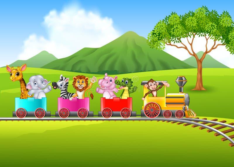 Śliczny Africa zwierzę na pociągu ilustracji