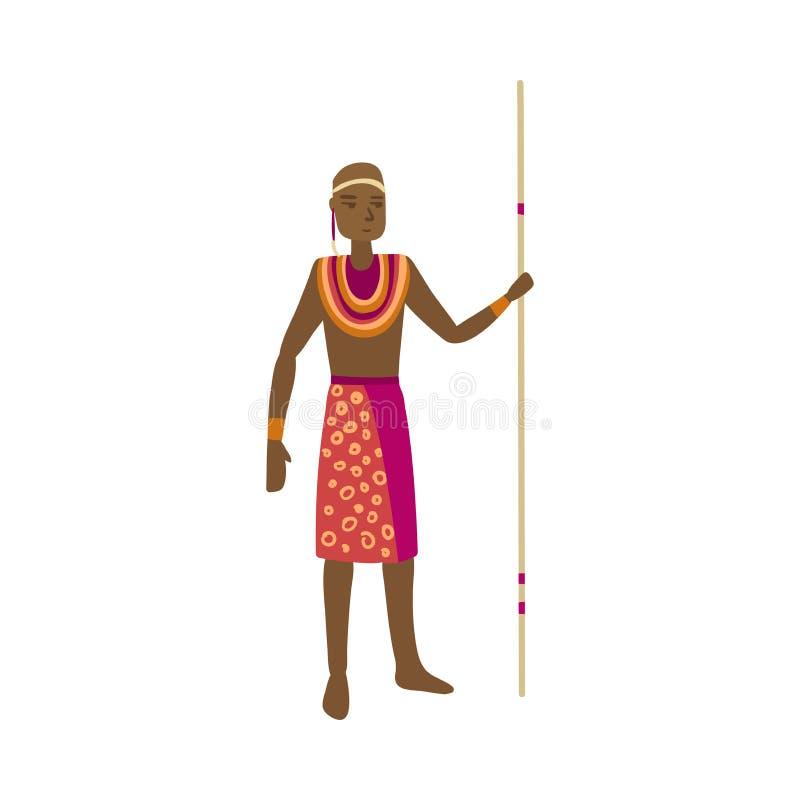 Śliczny afrykański aborygen z kolorowymi czerwieni ubraniami i długą lancą ilustracja wektor