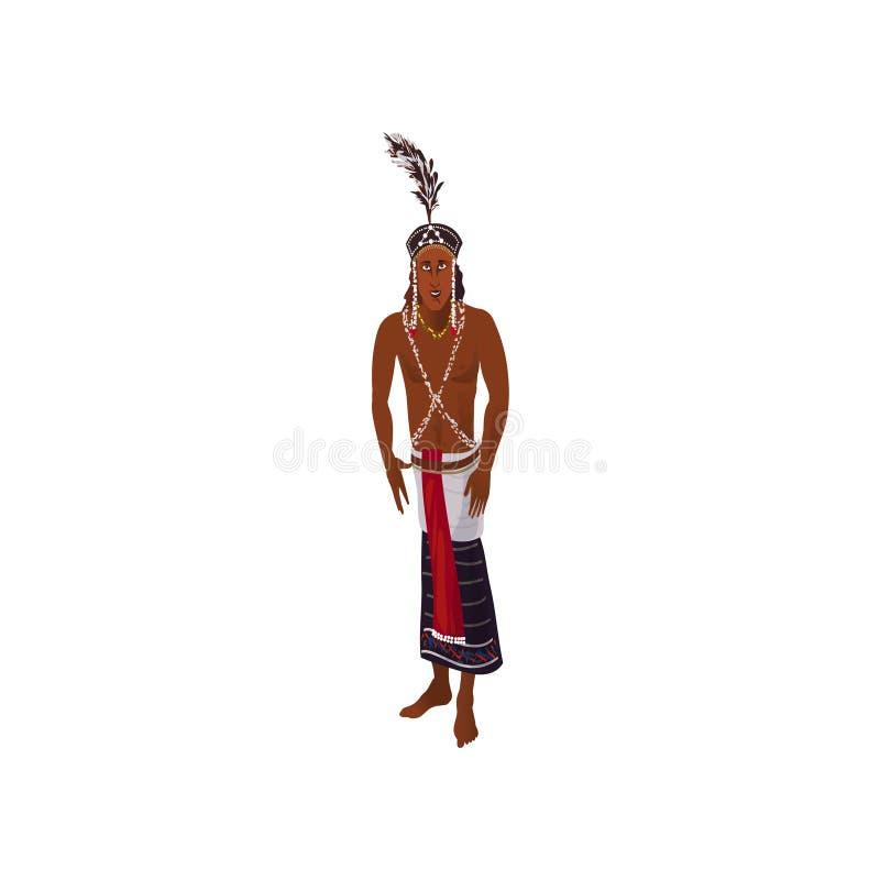 Śliczny afrykański aborygenu mężczyzna z ślicznym piórkowym headwear royalty ilustracja