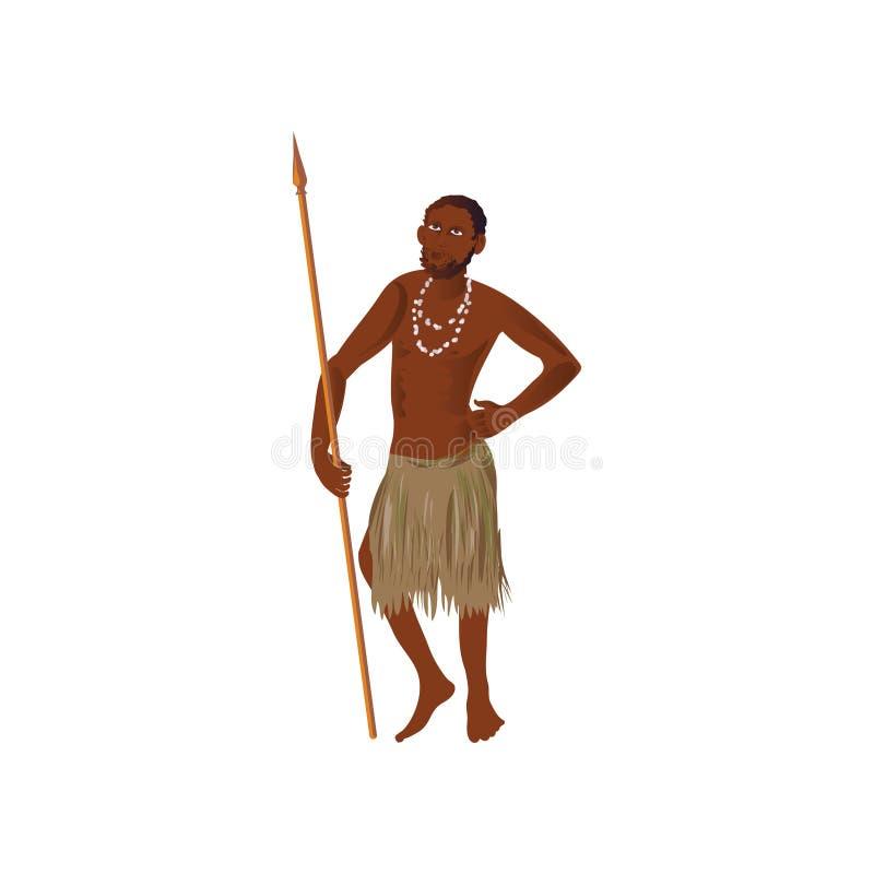 Śliczny afrykański aborygenu mężczyzna z długą dzidą i kolią ilustracja wektor