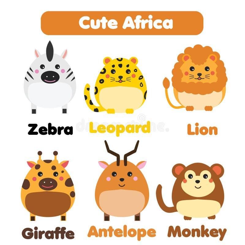 Śliczny afrykański zwierzę przyrody set Dzieci projektują, odizolowywali, projektów elementy, wektorowa ilustracja ilustracji