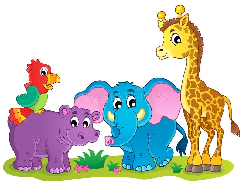 Śliczny Afrykański zwierzę tematu wizerunek 4 ilustracja wektor