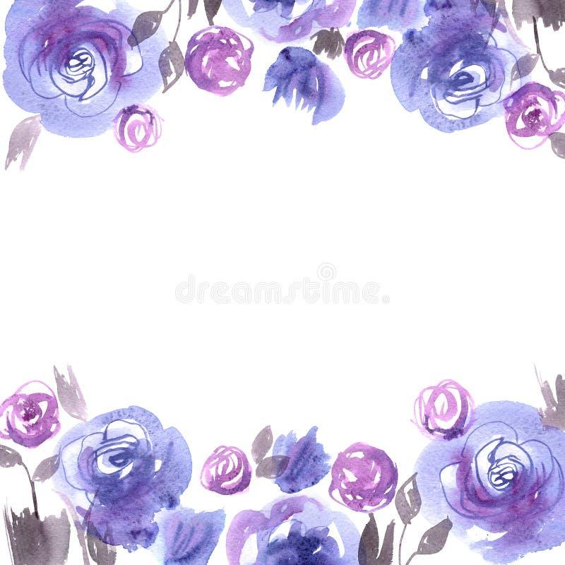 Śliczny akwarela kwiatu tło z błękitnymi różami zaproszenie karty poboru ślub ilustracyjny Bir royalty ilustracja