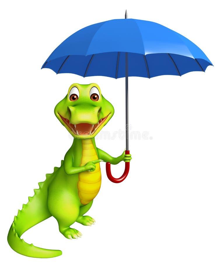 Śliczny aligatora postać z kreskówki z parasolem ilustracji